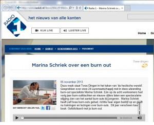 Radio 1 Twee dingen met Margreet Reijntjes over Gefeliciteerd met je burn-out met Marina Schriek